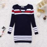 Striped Knit V Neck Long S..
