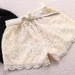 Lace Shorts With Crochet E..