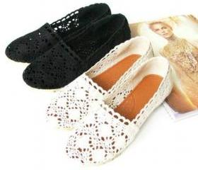 CROCHET FLOWER BUD LEISURE SHOES FLAT-BOTTOM 20