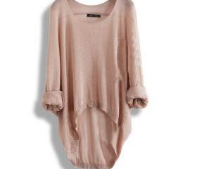 BATWING LADIES CASUAL LOOSE ASYMMETRIC KNIT TOP 23