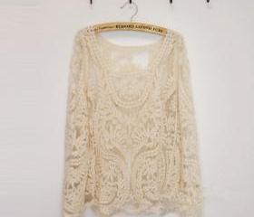 CROCHET FLOWER/LEAF LACE BLOUSE 24