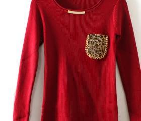 KNITTED SHIRT LEOPARD POCKET SLIM ROUND NECK 34