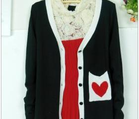 RED HEART KNIT CARDIGAN 36