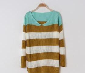 STRIP LOOSE PULLOVER SWEATER TWO COLORS 37