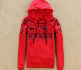 REINDEER HOODED SWEATER WITH THICKENED COTTON FABRIC 40