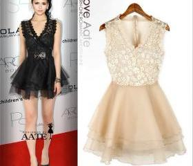 BLACK AND WHITE LACE DRESS 2013 SPRING NEW 44