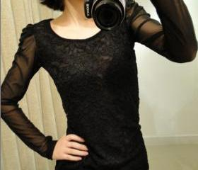 BLACK BUBBLE SLEEVE SLIM BUTTERFLY NET YARN LACE LONG SLEEVE SHIRT 45