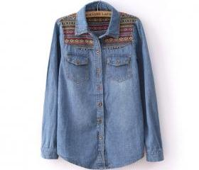 TRIBAL PRINT VINTAGE BLUE DENIM SHIRT 47