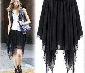 ASYMMETRICAL CHIFFON LONG DRESS IRREGULAR HEM 55