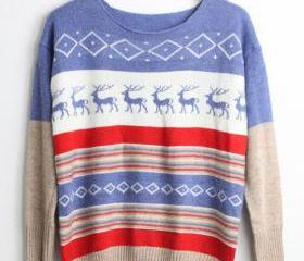 VINTAGE REINDEER STRIP SWEATER/SWEATSHIRT 70