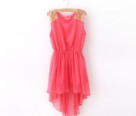 CHIFFON DRESS WITH SEQUIN ON SHOULDER 79