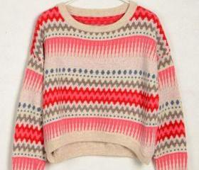 TRIBAL PATTERN MOHAIR COMFY JUMPER 82
