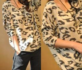 CHEETAH PRINT LOOSE KNIT THINK JUMPER 103