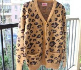 LEOPARD KNIT RABBIT HAIR CANDIGAN 105