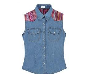 VERTICAL STRIPES PATCH STITCHING SLIM TRIBAL PATTERN SLEEVELESS SHIRT 110