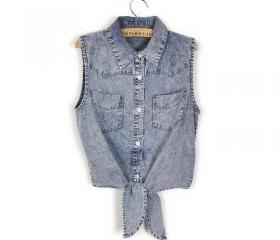 RETRO DENIM SLEEVELESS SHIRT 114