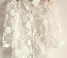 FLORAL PATTERNED LACE SLEEVE CHIFFON SHIRT WITH CAMISOLES 132