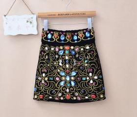 EMBROIDERY INLAID COLORED RHINESTONE HIGH WAIST SKIRT 142