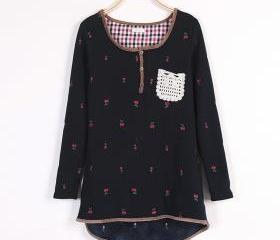LACE EMBROIDERY CHERRY SMALL POCKETS AND FLEECE THICK SWEATSHIRT 144