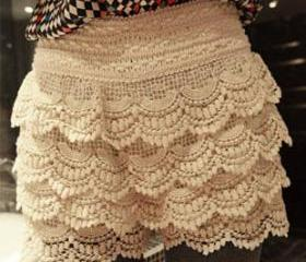 HIGH WAIST RETRO LACE SHORTS SKIRTS 137