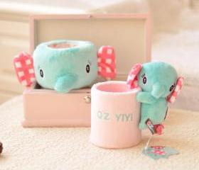 THREE-DIMENSIONAL CARTOON CUTE LITTLE ELEPHANT GREEN PENCIL HOLDER [169]
