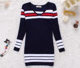 STRIPED KNIT V NECK LONG SLEEVE SWEATER DRESS [170]