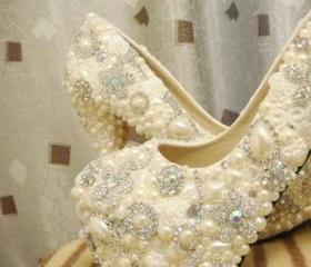 CINDERELLAS WISH CRYSTAL, GLASS AND PEARL COVERED HIGH HEELS. WEDDING BESPOKE CUSTOM [183]