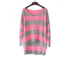 FLUORESCENT NEON COLORED STRIPES COVERED BUTTOCKS LOOSE FLUFFY SOFT SWEATER [184]