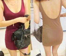 LOW BACK DEEP V NECK DRESS SEXY DRESS [188]