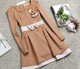 TAN BOW TIE SLIM DRESS [100