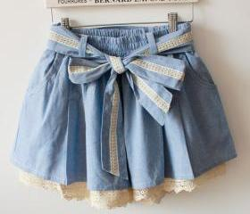 BLUE LACE BOW HIGH WAIST SKIRTS ELASTIC WAIST [194]