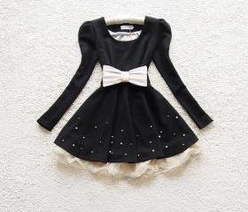 BOW BELT PRINCESS LACE BEAD DRESS LONG SLEEVE [208]