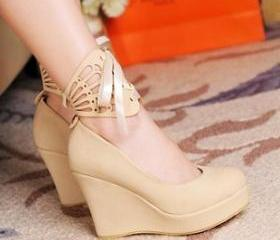 4 COLORED WEDGE BOOTIES WITH DETACHABLE ANKLE STRAPS [246]