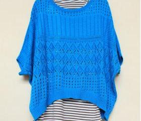 VINTAGE CUTOUT EYELET LOOSE TUNIC SWEATER [247]