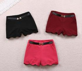 2013 SPRING NEW SOLID COLOR SHORTS WITH BELT [249]