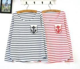 STRIPED SHIRTS TSHIRT LONG SLEEVE SHIRT WITH ANCHORS [255]