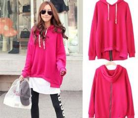 THICK FRONT SHORT IRREGULAR HOODED SWEATSHIRT [257]