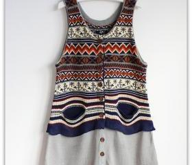 VINTAGE AZTEC GIRL TAN TOP SWEATER [269]