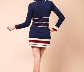 2013 SPRING JUMPER DRESS NAVY BLUE WITH STRIPS [273]