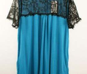 CHIFFON T-SHIRT WITH LACE ON TOP [275]
