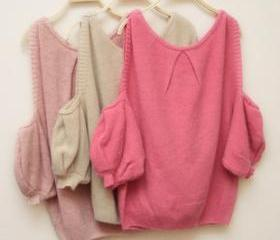 CUT OUT SHOULDERS LOOSE MOHAIR SWEATER [279]