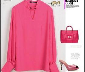 BUTTON-LESS PINK SHIRT/BLOUSE [281]