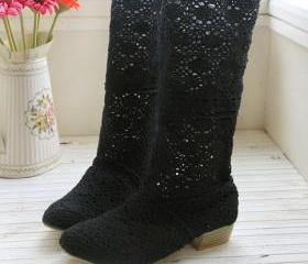 HANDMADE CROCHET LACE BOOTS [289]