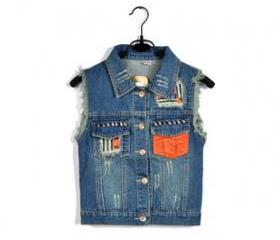 VINTAGE DENIM VEST WITH POCKET-TWO [290]